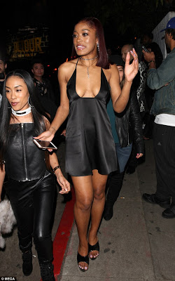 39f11eb48386 Braless Keke Palmer hits Grammy afterparty in extremely low cut ...